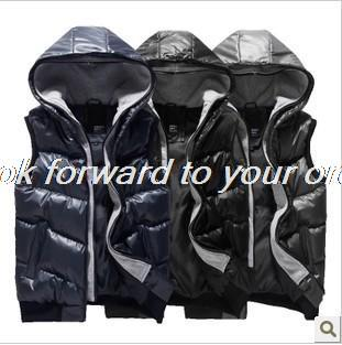 2014 autumn winter new Korean fashion Hooded cotton Vest slim comfortable Jackets coats man casual Wear