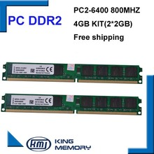 DDR2 800Mhz 4GB KVR800D2N6/2G (Kit of 2,2X 2GB for Dual Channel) PC2-6400 Brand New DIMM Memory Ram For desktop computer