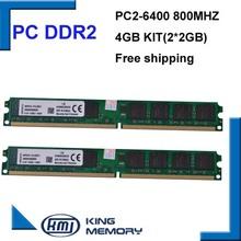 DDR2 800 Mhz 4 GB KVR800D2N6/2G (Kit de 2,2X2 GB de Doble Canal) Brand New DIMM PC2-6400 Memoria Ram Para computadoras de escritorio(China (Mainland))