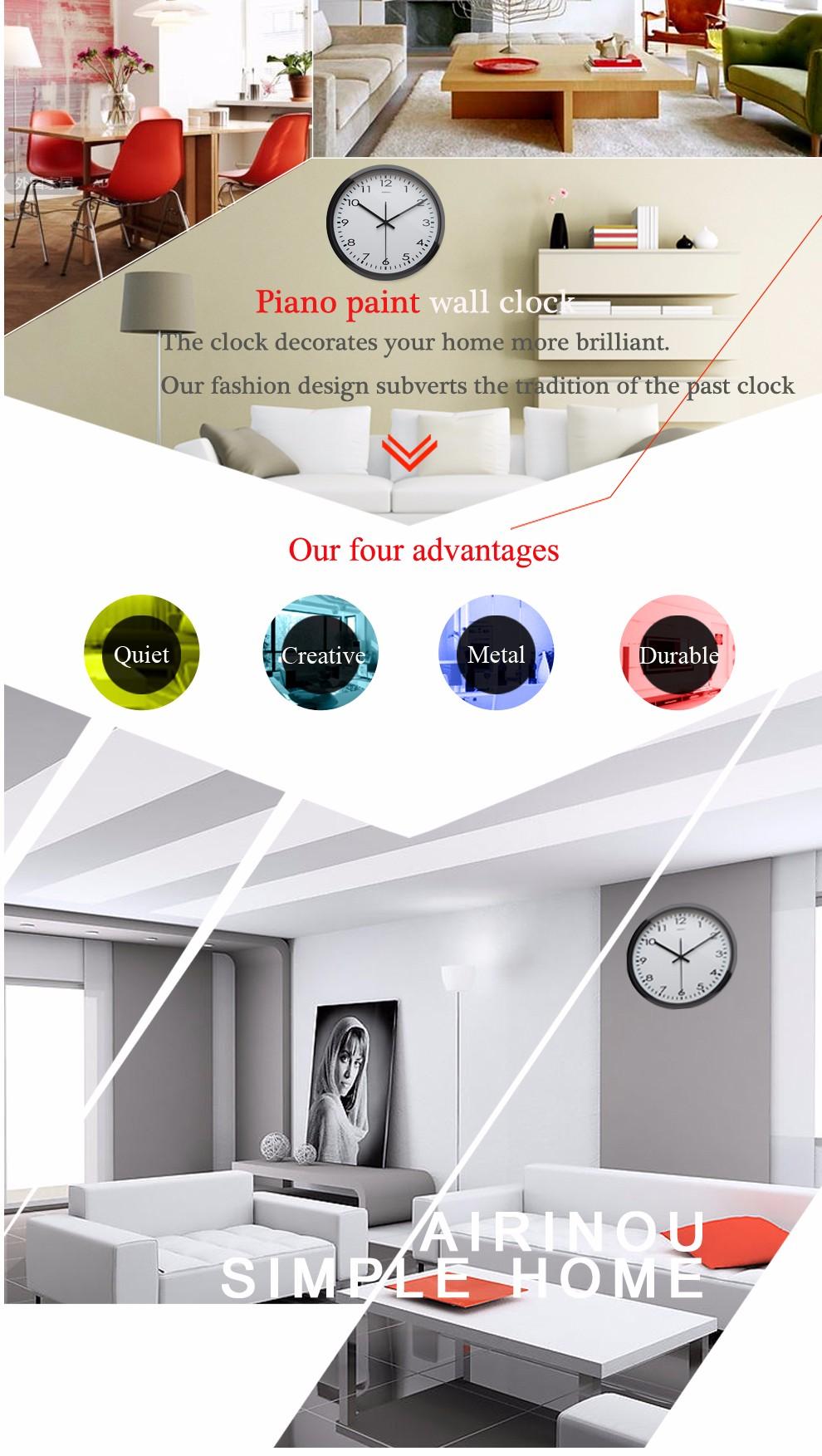 Airinou Corridor, living white simple modern office wall clock , High transparent glass silent movement clock