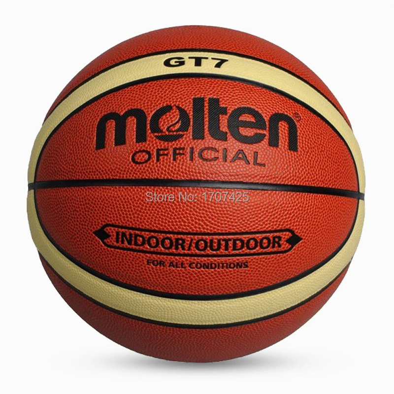 2015 Free Shipping Molten Basketball PU Leather Official Basketball Size 7 GT7 indoor and outdoor basketball ball Free With gift(China (Mainland))