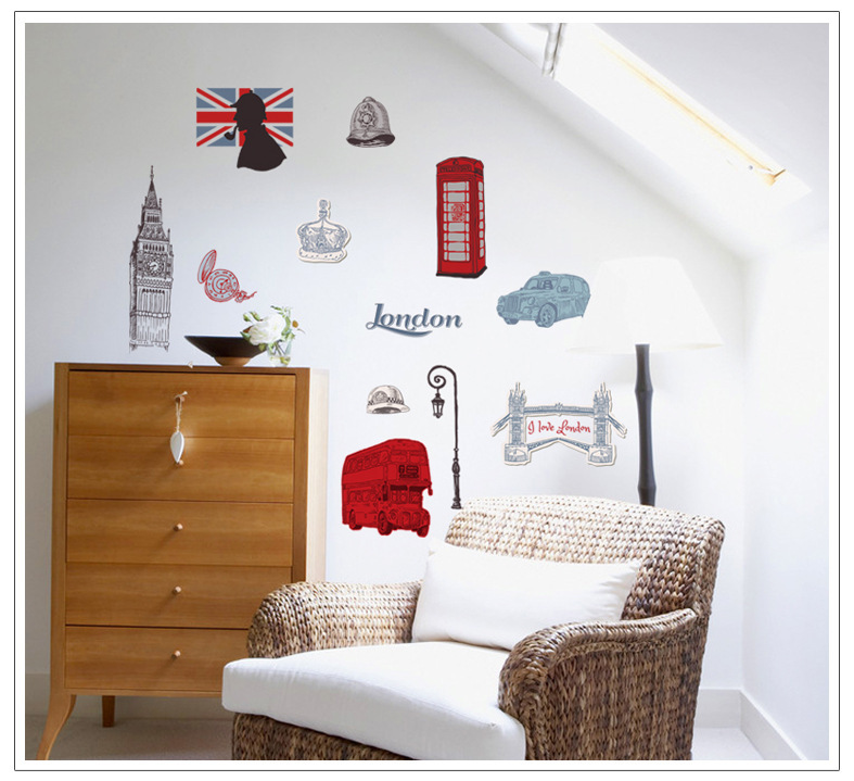 Prime London house impression backdrop stickers living room bedroom room decoration ideas waterproof stickers(China (Mainland))