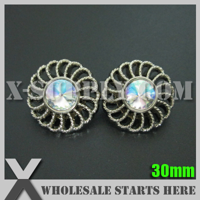 30mm Round Plastic Acrylic Diamond Button for Clothing,Flower Center/Silver Base with Crystal AB Rhinestone/Bulk Wholesale