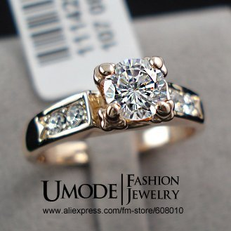 UMODE Top Selling High Quality 18K Rose Gold Plated Fashion CZ Diamond Wedding Rings JR0006A