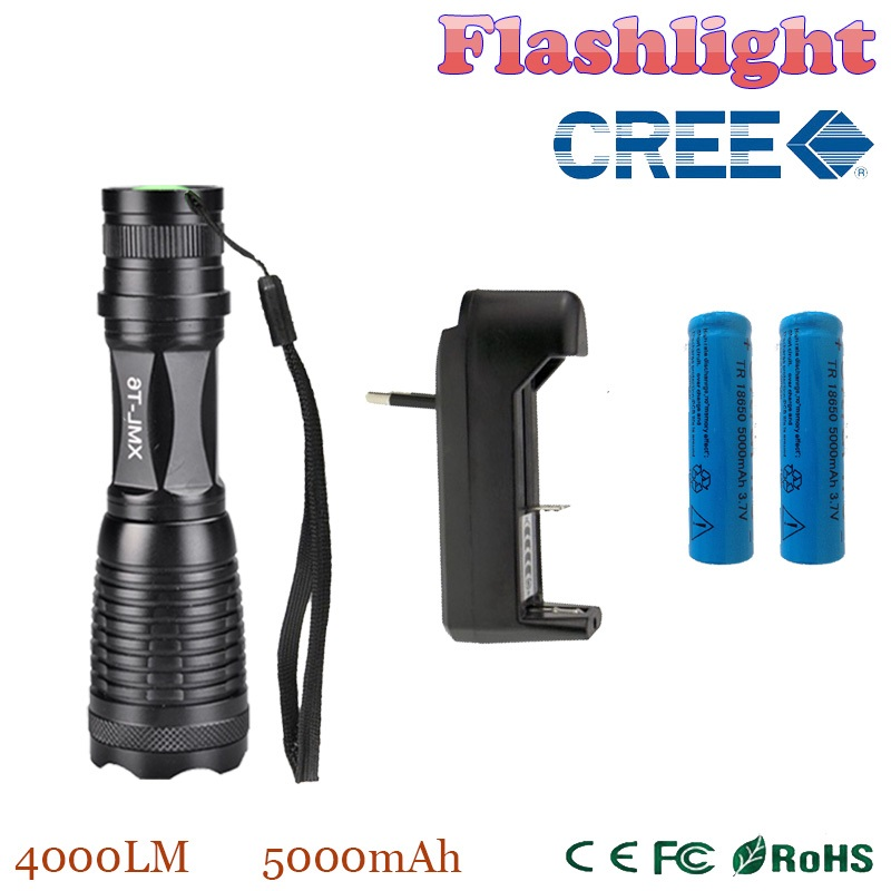 TP14 value packs 4000LM LED flashlight Zoomable Adjustable CREE xml-t6 LED Flashlight TPrch 2*18650 5000mAh Battery + Charger(China (Mainland))