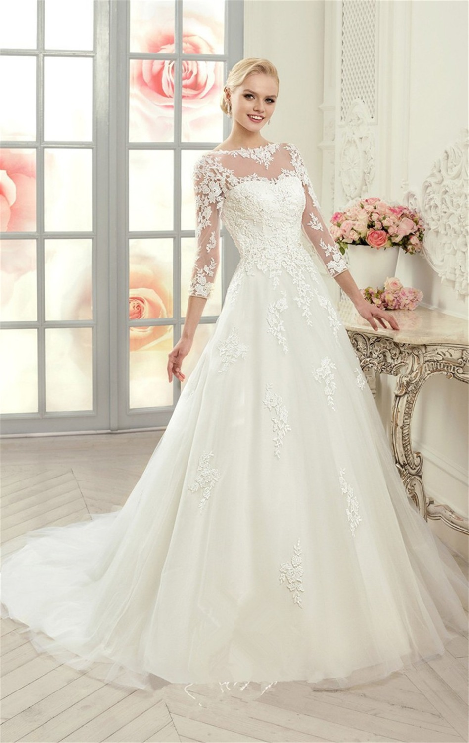 Mansa 2015 lace a line wedding dress with sleeves see for Kleinfeld wedding dresses with sleeves