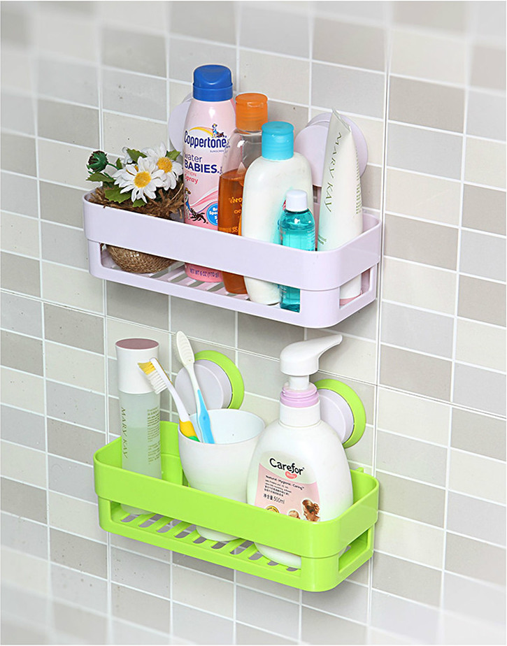 Sucker edge plastic organizer organizer net box kitchen for Bath storage net