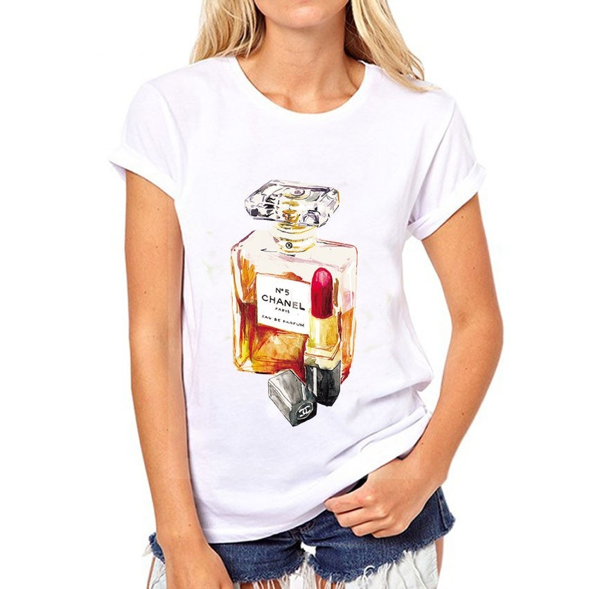 2017 new modal polyester perfume lipstick print t shirt women summer lady casual o neck short sleeve tee tops plus size brand(China (Mainland))