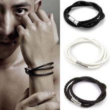 Ручной работы, плетеные мужской женский кожаный браслет манжеты wrap простой уникальный поворот кожаный браслет женщины мужчины прохладный подарок браслет(China (Mainland))