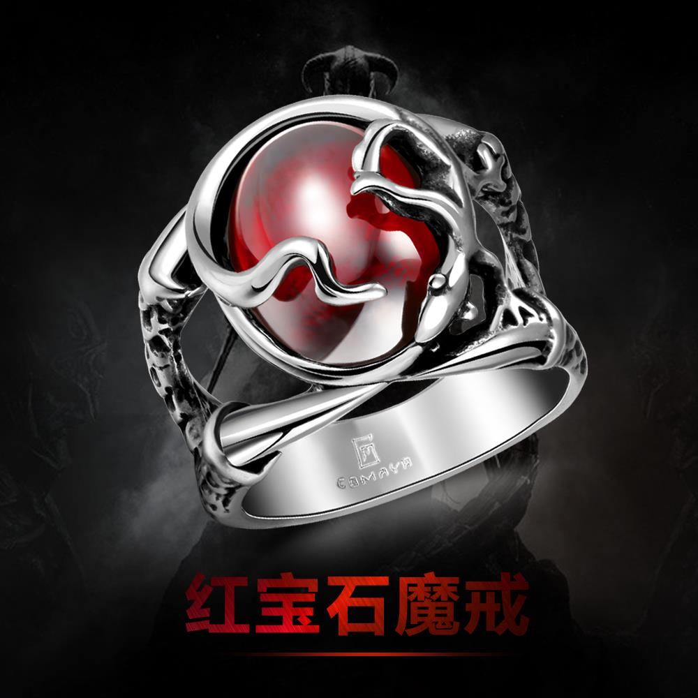 Punk Real stainless steel Ruby Ring Men's 13KT big red stones Finger Rings for man High Quality 430(China (Mainland))