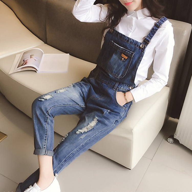 Pregnant Women Trousers 2016 Spring New Loose Denim Overalls Feet Hole In Pregnant Women(China (Mainland))