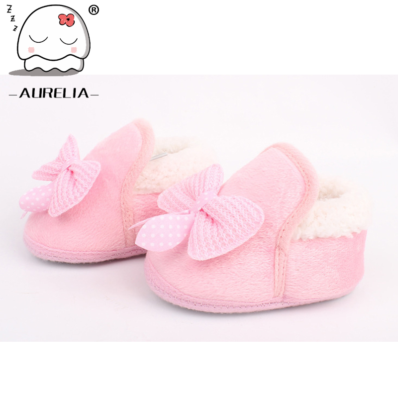 Butterfly-knot Lovely Winter Warm Baby Shoes Soft Bottom Non-slip Bow Toddler shoes First walkers Newborn Baby Boys Footwear(China (Mainland))