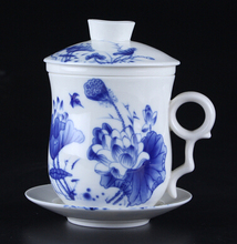 4pcs/set Chinese Traditional Blue And White Porcelain Office Tea Cup Mug With Filter And Lid