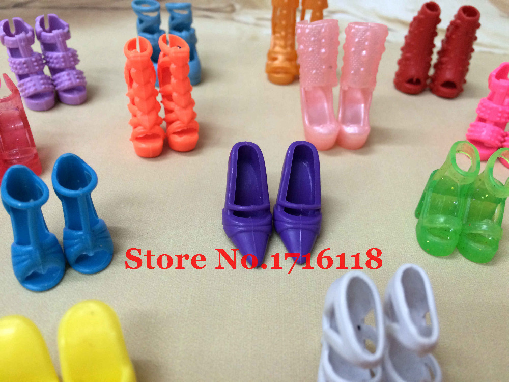 Randomly Picked 10 Pairs Colorful Assorted Fashion Colorful Doll Shoes Heels Sandals For Barbie Dolls Accessories Outfit Dress(China (Mainland))