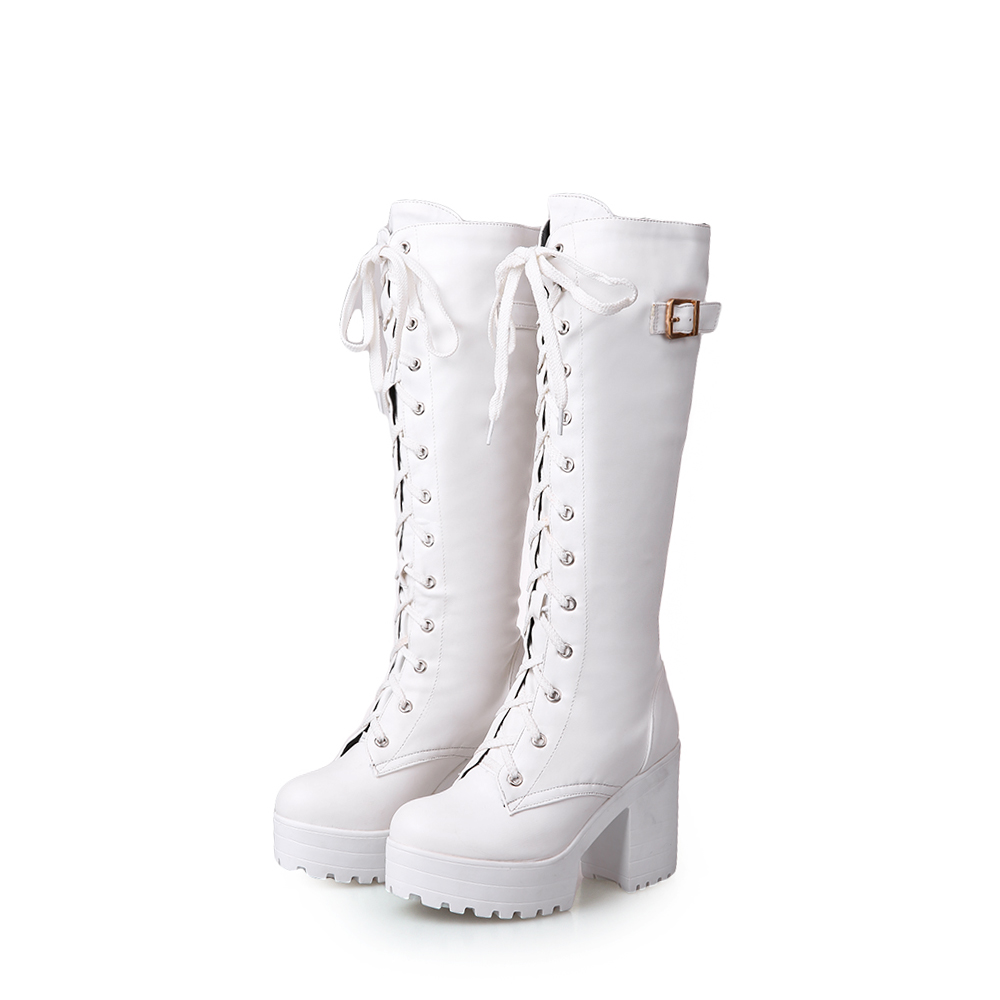 Womens Knee High Lace Platform Buckle Boots Heels Riding Shoes Size 34-43 BB1449
