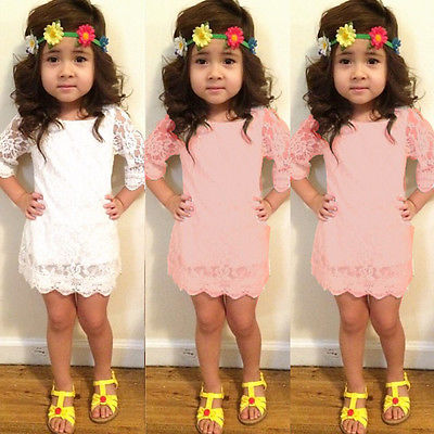 New Baby Girls Hollow Out Flower Dress casual summer kids lace party dresses girl's clothes(China (Mainland))