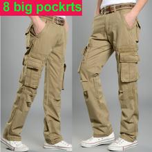 big size military cargo pants men multi 8 pockets casual cotton tactical pants men work pants khaki jeans pantalones de carga(China (Mainland))