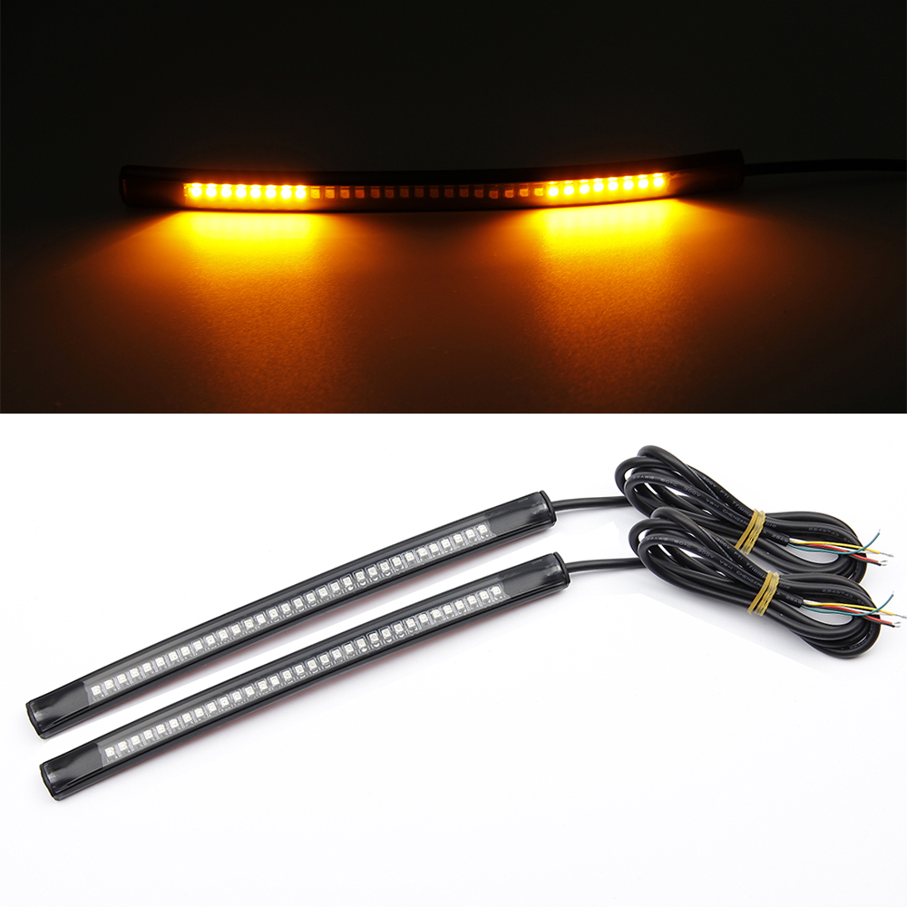 "32LED Motorcycle LED Turn Signal Light Turning Tail Brake Stop License Plate Lamp Rear Light Strip 8"" Red and Amber Led Color(China (Mainland))"