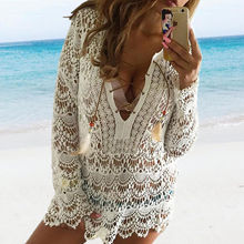 2016 New Sexy Women Bathing Suit Lace Crochet Bikini Cover Up Swimwear Summer Beach Dress Wholesale