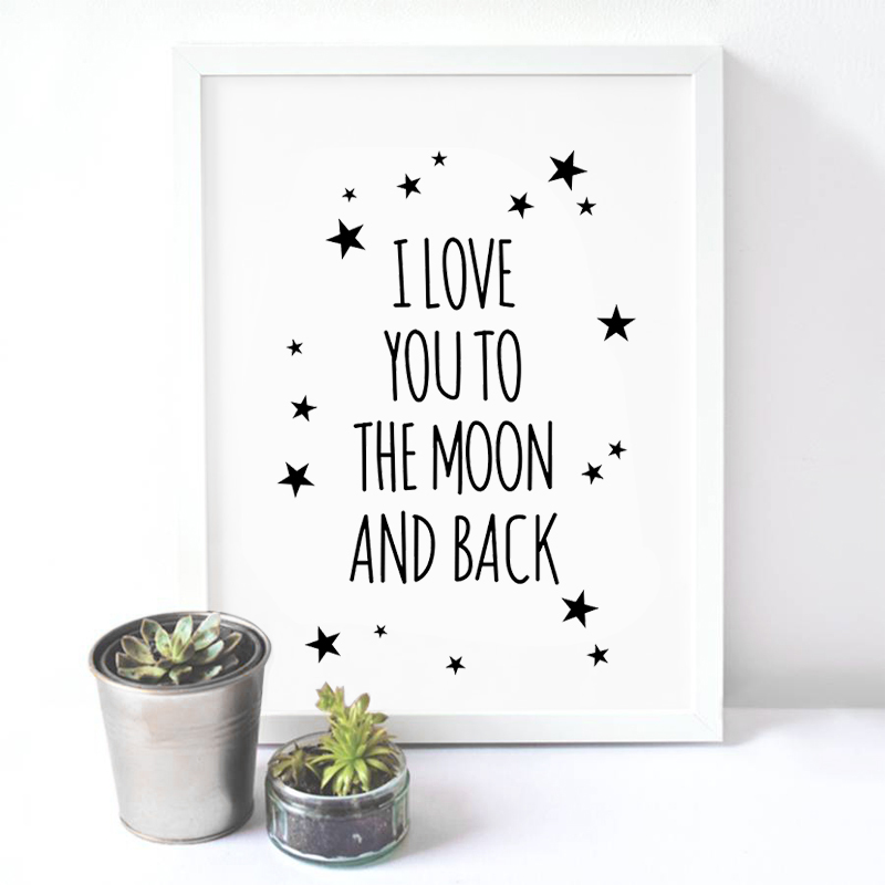 Nordic I Love You To Moon And Back Star Canvas Painting A4 Art Print Poster Oil Painting Wall Picture For Living Room Home Decor(China (Mainland))