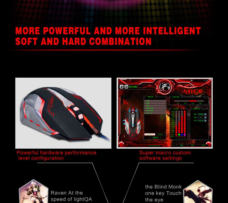 cbfa53f2547 ... iMice V8 PC Computer Mouse Macro 4000DPI Led Optical 6D USB Wired game  Gaming Mouse gamer ...