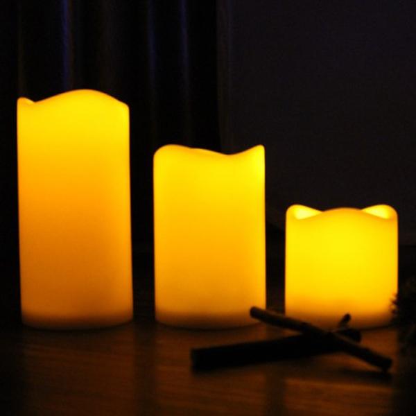 3pcs/Set Decorative LED Flameless Wax Pillar Candles Battery Operated Candle Light Electronic Candles VC894 T150.5(China (Mainland))