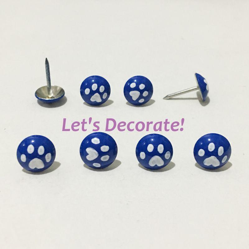 100pcs Blue Color Printed With Hand-drawing White Paw Decorative Nails,Upholstery Tacks,Thumb Tacks, Hobnails,DIY Accessory(China (Mainland))