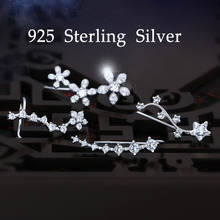 925 Sterling-Silver Ear Cuff With Cubic Zirconia Flower Ear Climber Earrings for Women Pave CZ Ear Sweep Wrap Minimalist Jewelry(China (Mainland))
