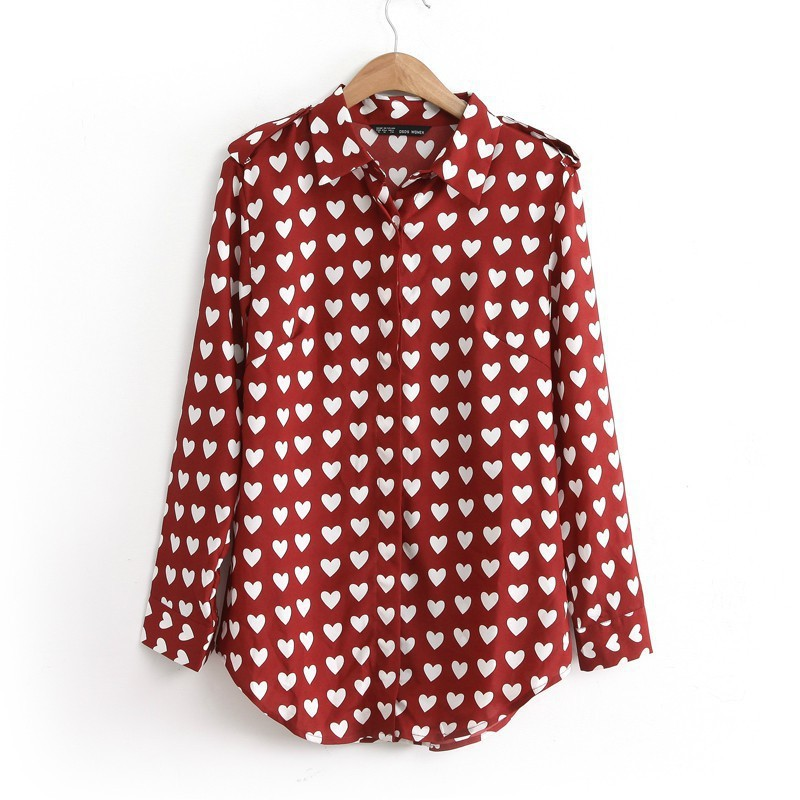 2014 new Autumn European and America women's Heart print Turn-down Collar Long sleeve shirt color wine red/black(China (Mainland))