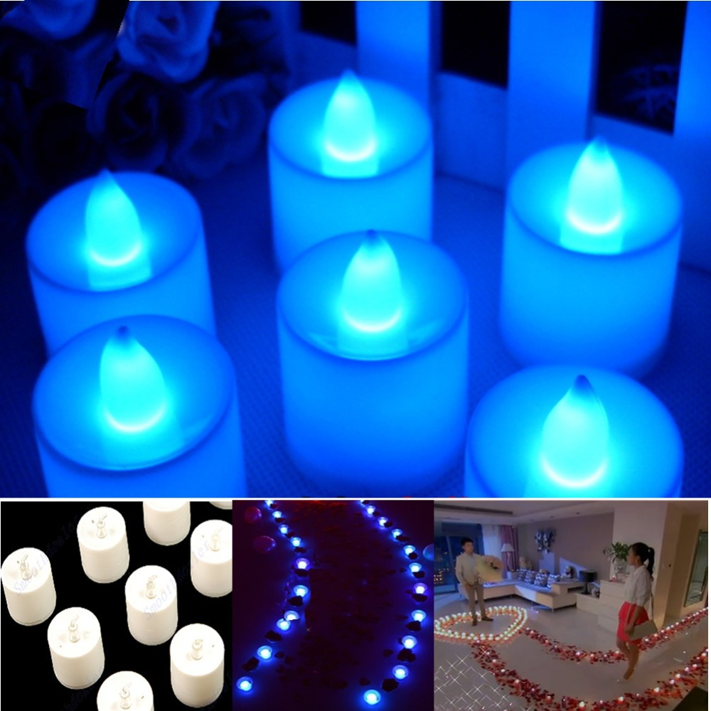 F85 Blauw Thee Led Kaars Flickering Vlamloze Kaarsen Wedding Party Licht(China (Mainland))