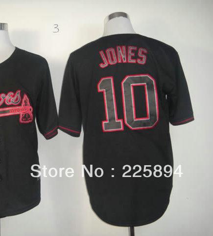 Free Shipping Top Men American Baseball Jersey #10 Chipper Jones Black Cool Baseball Jersey all stitched Embroidery logos(China (Mainland))