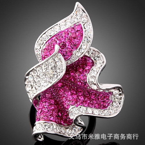 The flame Leaf Fashion jewelry Rhinestone Stone crystal inlaid ring platinum plated,18k gold party Rings for women New Sale R099(China (Mainland))