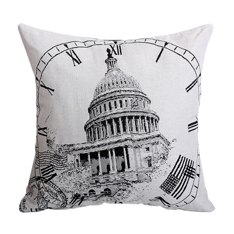 Thick Fashion Clock Castle Sofa Square Cushion Covers Set Decorative Throw Pillow Cases HOME TEXTILE Polyester Cotton Blended(China (Mainland))