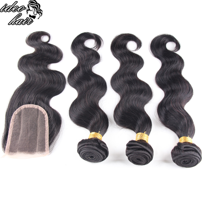 Rosa Natural Black Hair Peruvian Lace Closure Virgin Hair Body Wave 4x4 Free&amp;Middle&amp;Three Part Bleached Knots Lace Closure<br><br>Aliexpress