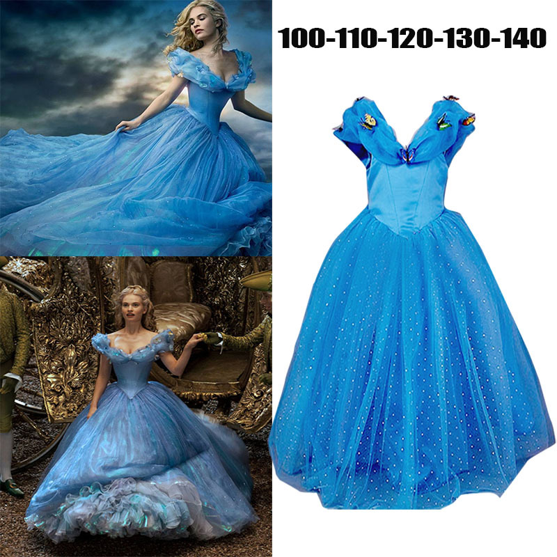 2015 Summer Cinderella Kids clothes baby Dress Retail Princess Girl Dress With Butterfly For Cinderella Cosplay Costume Girl(China (Mainland))