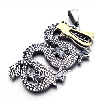 Punk rock accessories 316l stainless steel fashion vintage dragon pendant  necklace 961002076441 free shipping