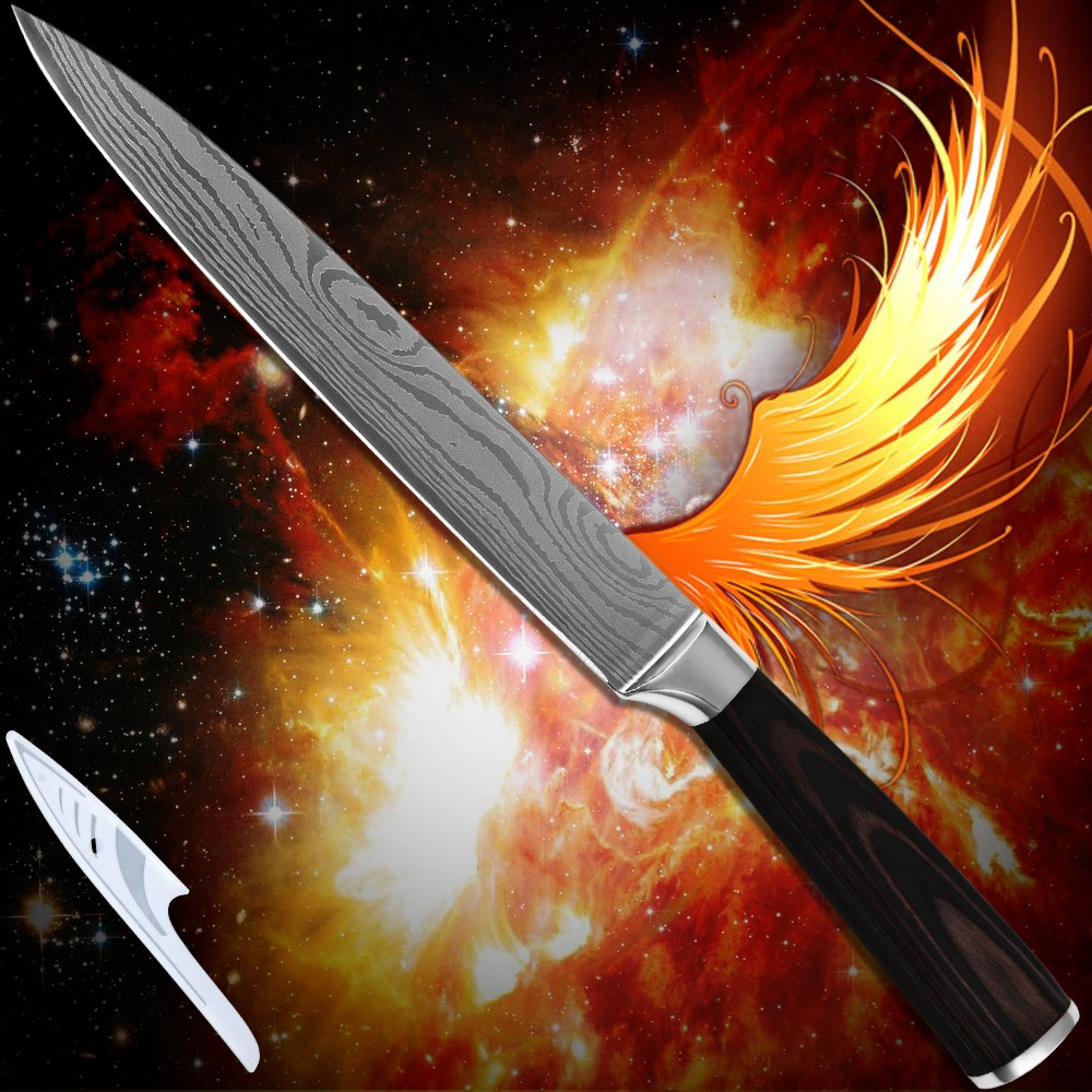 Buy Kitchenware 8 inch slicing knife 7Cr17stainless steel Damascus pattern superb sharp kitchen knife laser technology cooking tools cheap