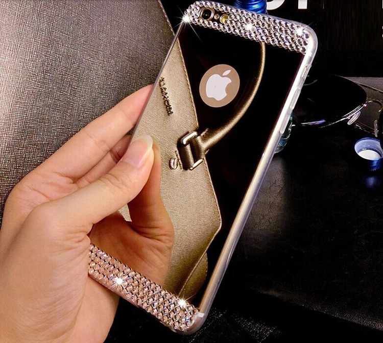 Luxury Rhinestone Diamond Mirror TPU Soft Gel Bling Case Cover For Apple iPhone 5 5s 6 4.7'' 6 plus 5.5'' Case Back Cover(China (Mainland))