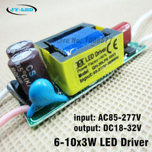 5pcs 6-10x3w LED Driver, Input ac85-277V, Output dc18-32v 600ma Constant Current Driver For LED Lamp Light Transformer(China (Mainland))