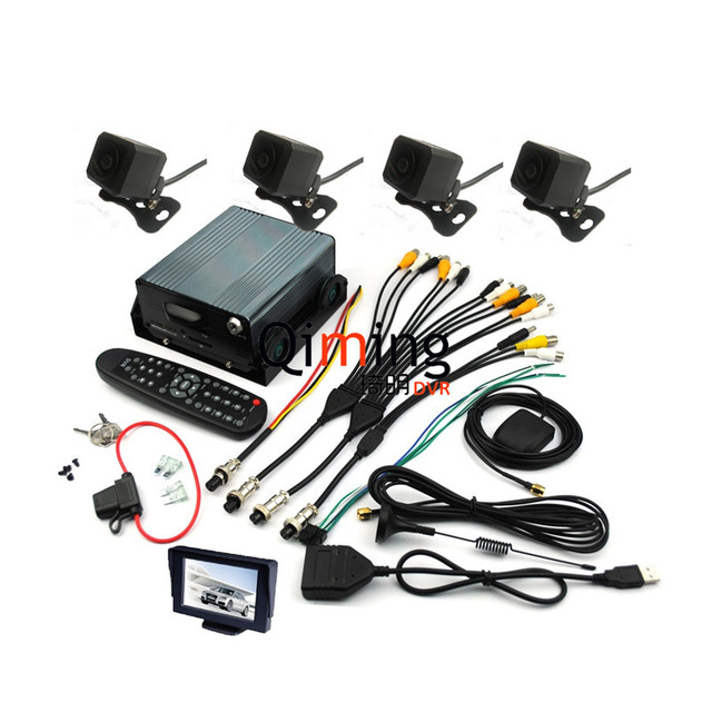 Free DHL Shipping 3G GPS Car Black Box with 4 Cameras 1cs LCD Screen Monitor Support 2TB HDD Complete Set