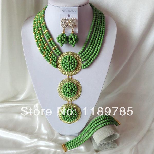 Fashion Nigerian African Wedding Beads Jewelry Set ,Stone Necklace Bracelet Earrings Set A-2144<br><br>Aliexpress