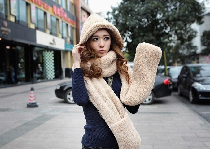 2016 Autumn and winter freeshipping super warm plush sheep Wool cap with scarf gloves hat  Women fashion women warm scarf set
