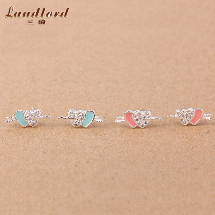 An Arrow Through Two Hearts Micropave Earring Pure 925 Sterling Silver Earrings Red & Blue Enamel Stud Earrings For Women CE0150(China (Mainland))