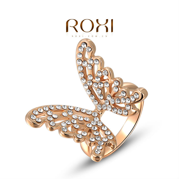 ROXI Gifts Classic Genuine Austrian Crystals Sample Sales Rose Gold Plated Butterfly  Ring Jewelry Party Fly Ring(China (Mainland))