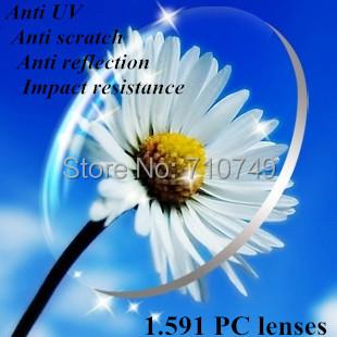 1.591 polycarbonate myopia lenses impact resistance anti reflection anti scratch anti UV prescripiton lens sports glasses(China (Mainland))