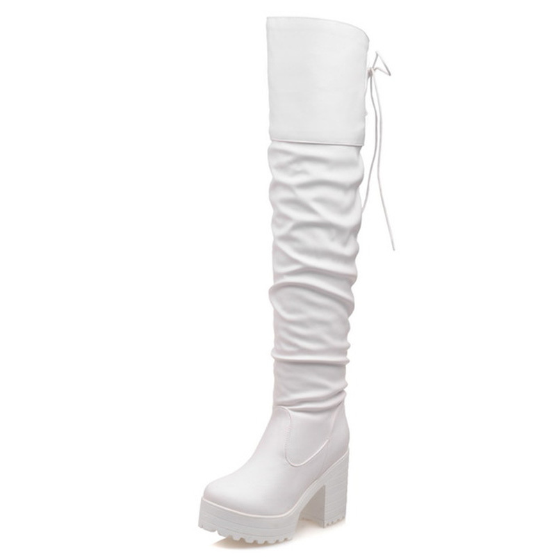 43 Plus Size 2015 Fashion Women Boots Shoes Black High-heeled Knee Boots Knee-High Knight Boots 3 Colors Black Yellow