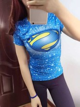 Polyester Spandex Superman women's fitness sports quick dry t shirt girls gym exercise compression tights t-shirt running tops