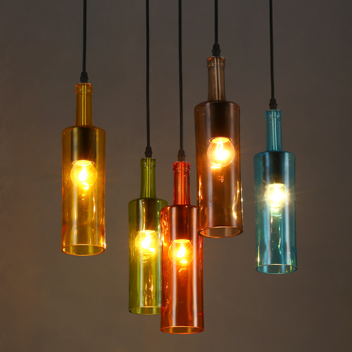Vintage Industrial Loft Colorful Wine bottle Glass Ceiling Lamp Droplight Cafe(China (Mainland))