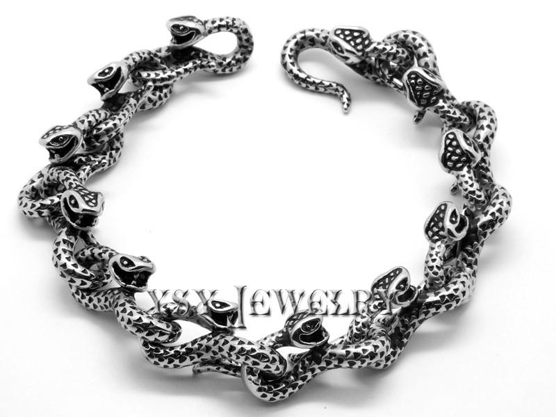 New Men's High Quality Stainless Steel Bracelets Link Black snake medic alert costume jewelry couples high fashion bracelets(China (Mainland))