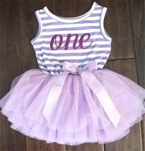 Girl Dress 1 Year Birthday Dress Toddler Girls Clothes One-piece Print Kids Dresses For Wedding Party Wear Stripe Dress For 0-2Y(China (Mainland))